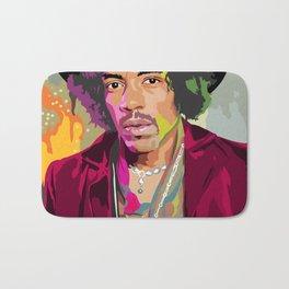 Jimi Hendrix Illustration Bath Mat