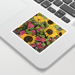 Sunflowers and Little Red Roses Sticker