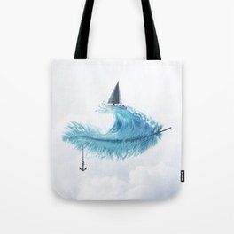 Water Feather • Blue Feather (horizontal) Tote Bag