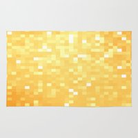 pixel art Area & Throw Rugs featuring Golden pixeLs by 2sweet4words Designs
