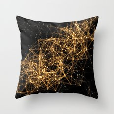 Shiny golden dots connected lines on black Throw Pillow