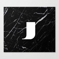 Black Marble - Alphabet J Canvas Print