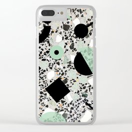 Terrazzo Design Memphis Style Green and Black Clear iPhone Case