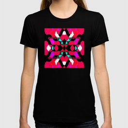 Abstract geometric infinite celestial star and flower burst pattern design in multicolors T-shirt