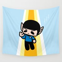 spock Wall Tapestries featuring Spock by Ziqi