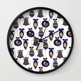 Merry Christmas and Happy New Year pattern Wall Clock