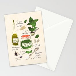 Pesto. Illustrated Recipe. Stationery Cards