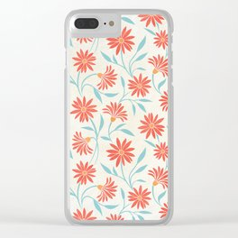 Living Coral Floral Pattern 2 Clear iPhone Case