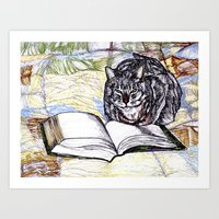 bookworm Art Prints featuring Bookworm by The Holga Contessa