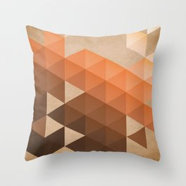 Warm Brown  -  Geometric Triangle Pattern Throw Pillow