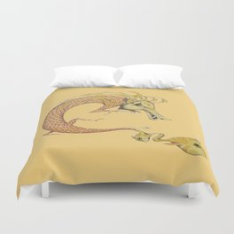 Dragon with fish Duvet Cover