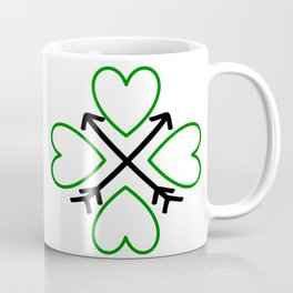 St. Patrick's Day Shamrock Lucky Charm Green Clover Veart with Arrows Coffee Mug