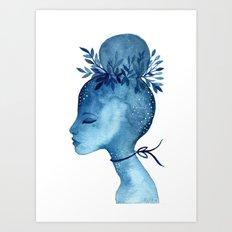 Indigo blue goddess Art Print