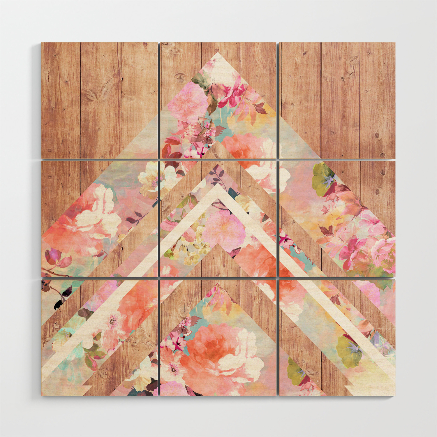 Vintage floral watercolor rustic brown wood geometric triangles wood wall art by girlytrend