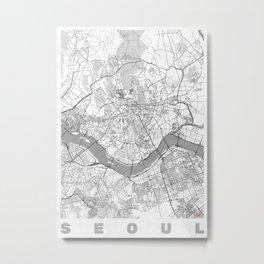 Seoul Map Line Metal Print