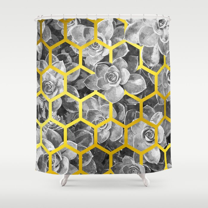 Black And White Succulent Geometric Shower Curtain By Alemi