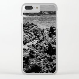 Landscape of sea rocks and the beach Clear iPhone Case
