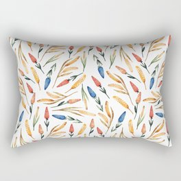 Watercolor seamless pattern with wheat sprouts and colored flowers Rectangular Pillow
