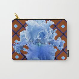 Chocolate Brown & Blue Iris Pattern Art Carry-All Pouch
