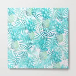 Turquoise Palm Leaves and Pineapples on Pink Metal Print