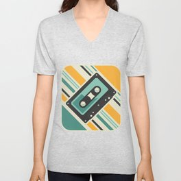 Cassette Retro Classic Tapes Players Cassette Recorder Lovers Machine Gift Unisex V-Neck