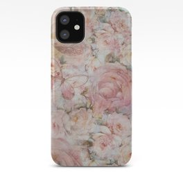 Vintage elegant blush pink collage floral typography iPhone Case