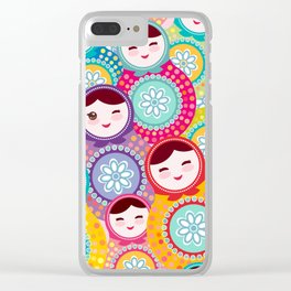 Russian dolls matryoshka, pink blue green colors colorful bright pattern Clear iPhone Case