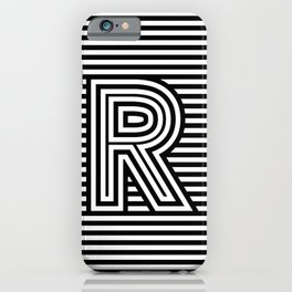 Track - Letter R - Black and White iPhone Case