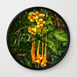 Beautiful orange trumpet flowers Wall Clock