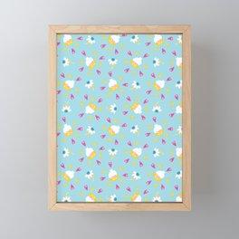 Bright summer daisy flower bloom seamless pattern. Framed Mini Art Print