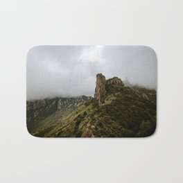 Foggy Mountaintop at Lost Mine Trail, Big Bend - Panoramic Bath Mat