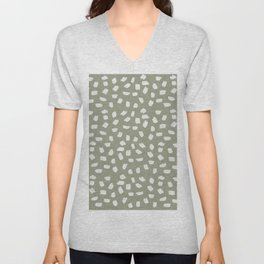 Simply Ink Splotch Lunar Gray on Green Tea Unisex V-Neck