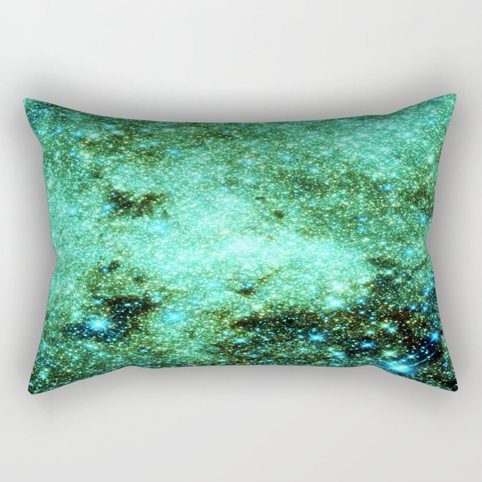 GaLAXY Sparkle Stars : Emerald Green Blue Rectangular Pillow