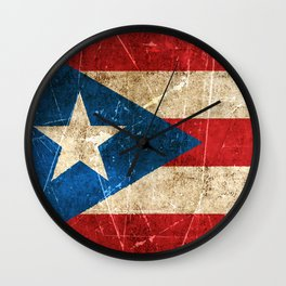 Vintage Aged and Scratched Puerto Rican Flag Wall Clock