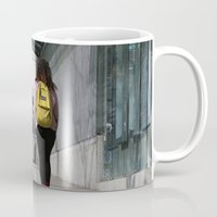 backpack Mugs featuring Bikes and backpack by RMK Photography