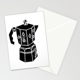 Moka Pot coffee linocut black and white minimal foodie kitchen coffee lover art Stationery Cards