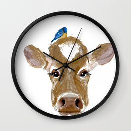 Bluebird Cow Wall Clock
