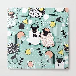 Mééé Memphis sheep // mint background Metal Print