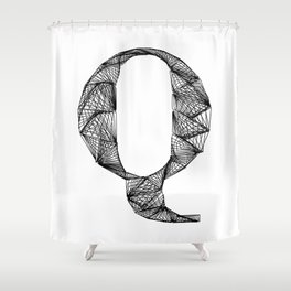 ''City Collection'' - Minimal Letter Q Print Shower Curtain