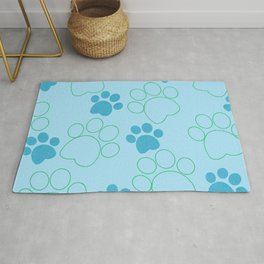 Blue and Green Paw Prints Rug
