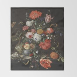 Jan Davidsz de Heem - Flower Still Life with a Bowl of Fruit and Oysters (c.1665) Throw Blanket