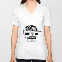 italian V-neck T-shirts featuring Italian Skull  by Mr. JJ