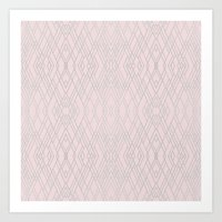 Art Deco Pink and Silver Art Print