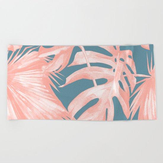 Island Love Millennial Pink on Teal Blue Beach Towel