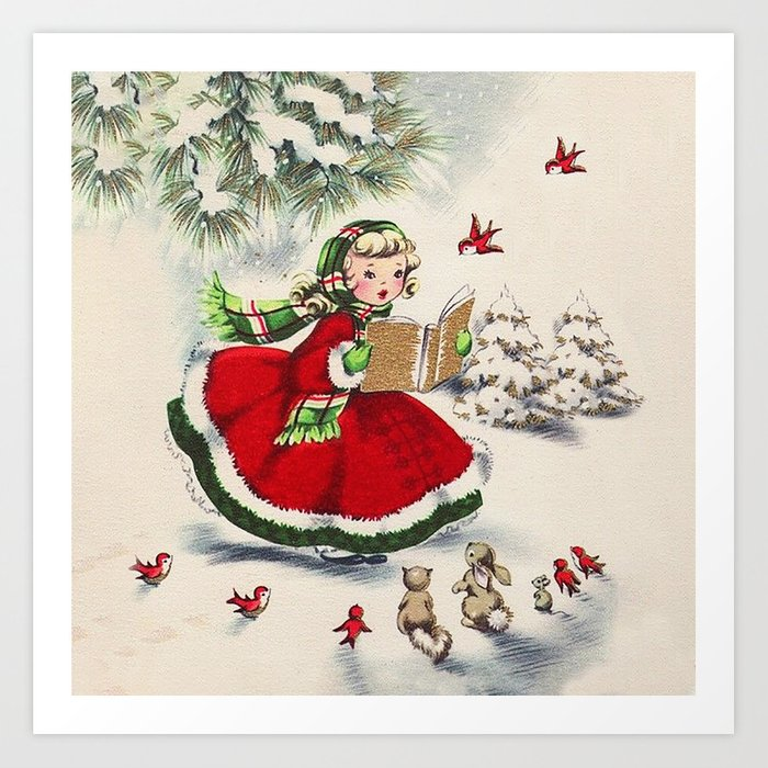 Vintage Christmas Girl Kunstdrucke