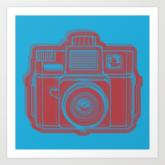 I Still Shoot Film Holga Logo - Blue & Red Art Print