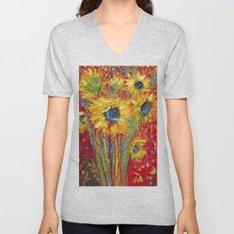 Red Sunflowers Unisex V-Neck