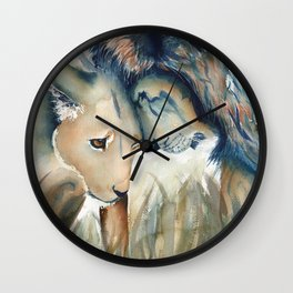 Watercolor Lion and Lioness Wall Clock