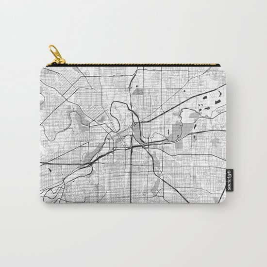 Fort Worth Map Gray Carry-All Pouch