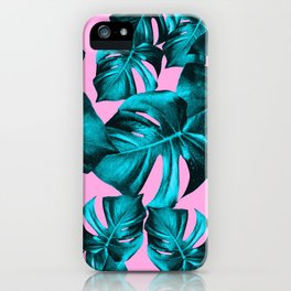Monstera Leaves Summer Vibes Pattern #1 #tropical #decor #art #society6 iPhone Case